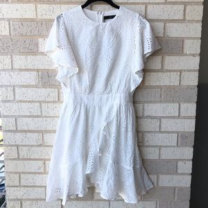 MVN White Eyelet Ruffle Dress